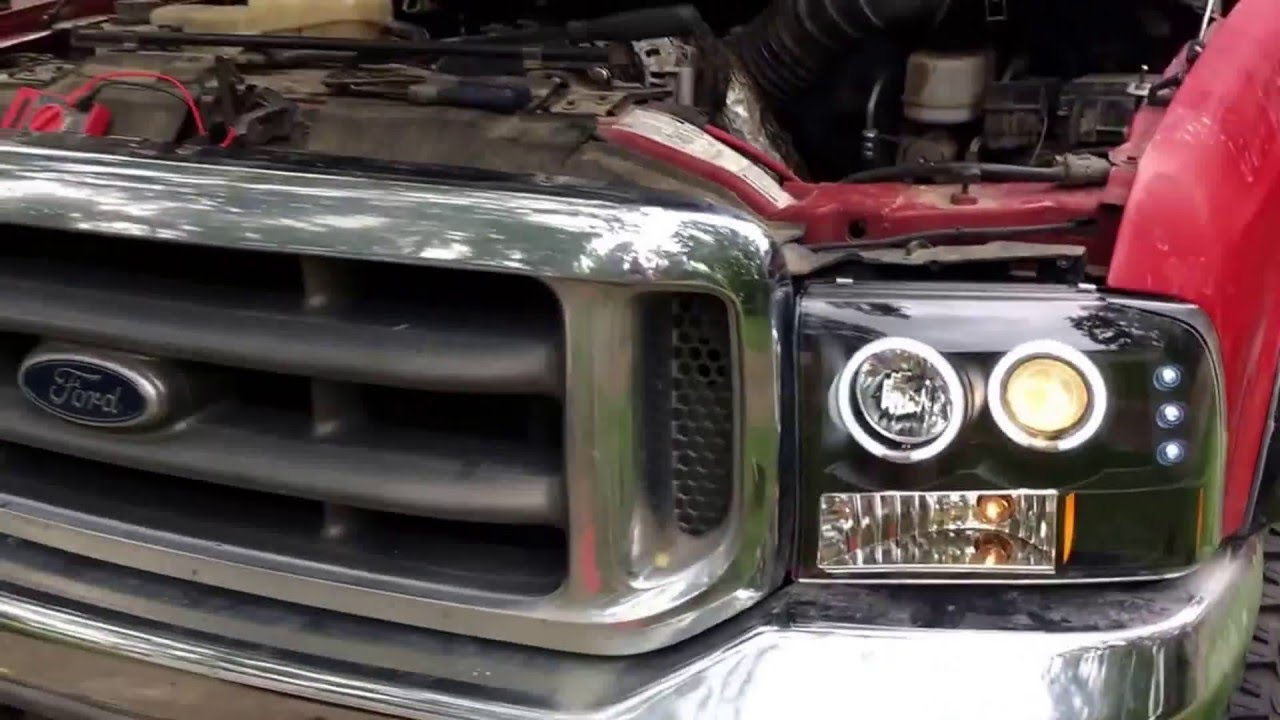99 F350 Headlights >> 1999 Ford F350 New Headlights Spyder Led Headlight Install