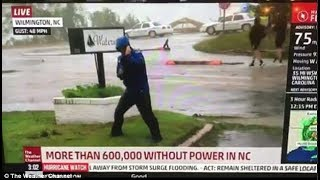 Weather Channel Reporter in Hurricane Florence Caught FAKING WINDS, storm surge FAKE acting