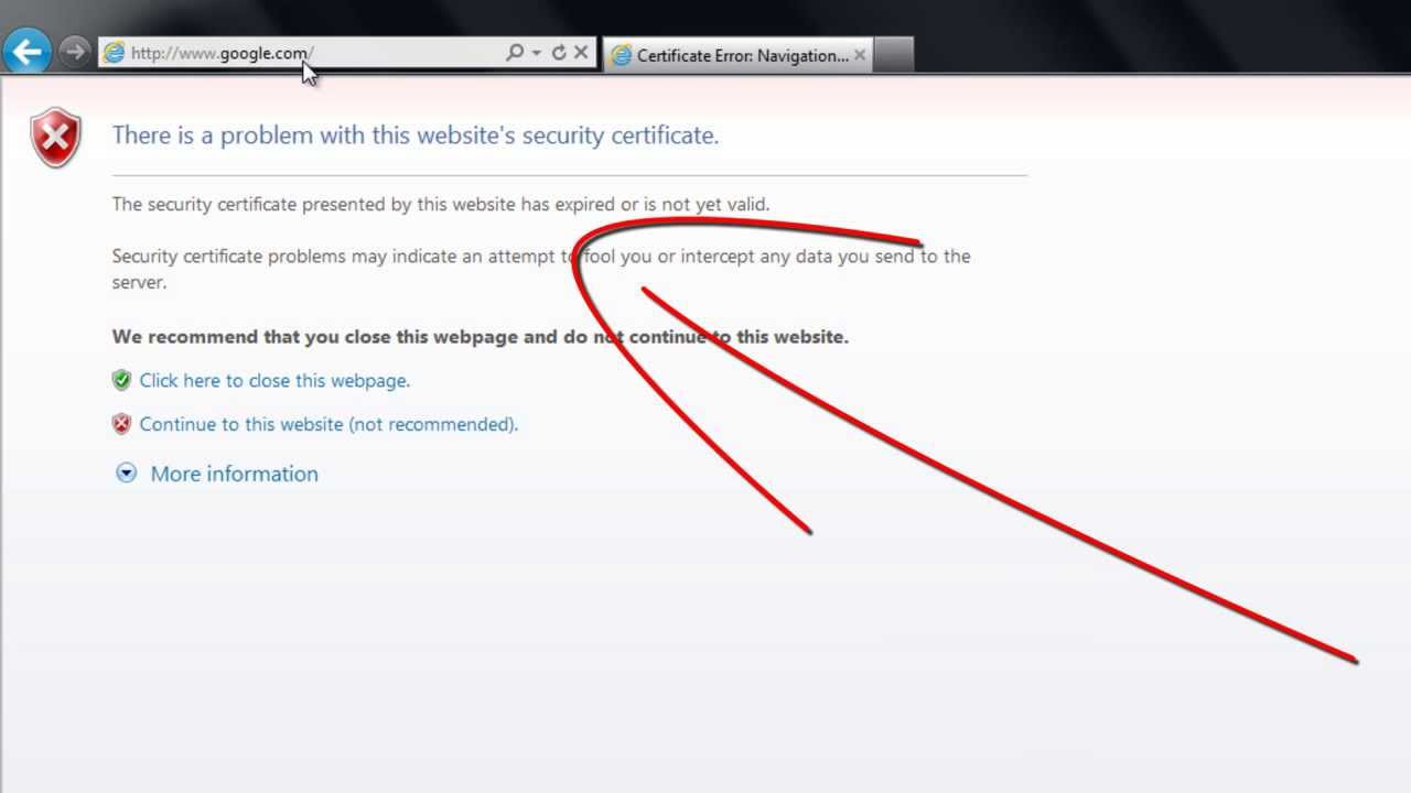 How To Remove Security Certificate Error On Internet Explorer Youtube