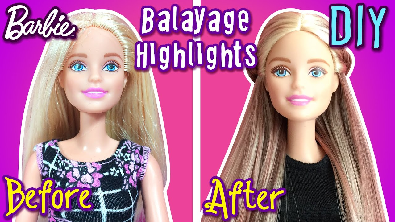 How To Make Balayage Highlights with Barbie Dolls Hair - DIY Barbie ...