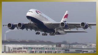 First cabin flight | BRITISH AIRWAYS A380 | G-XLEE | Takeoff at Airbus plant Hamburg