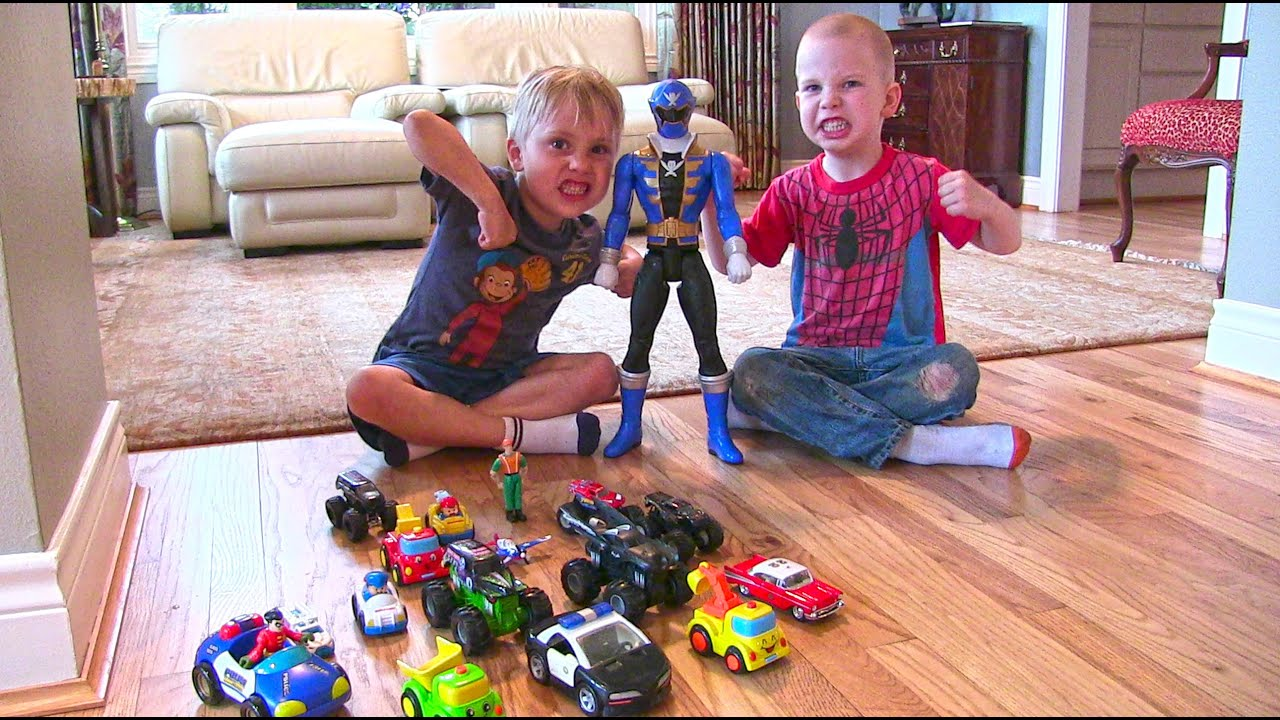 Toy Police Cars, Monster Trucks, A Big Blue Power Rangers