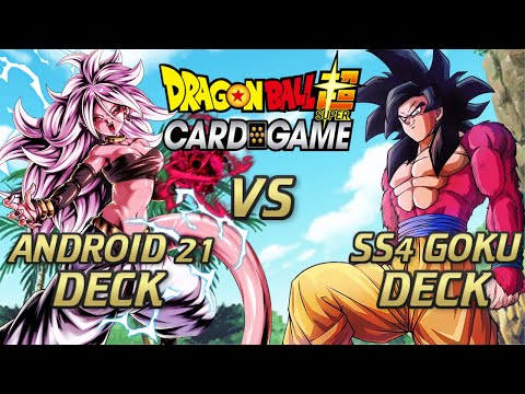 Android 21 VS SS4 Goku Battle! - Dragon Ball Super Card Game