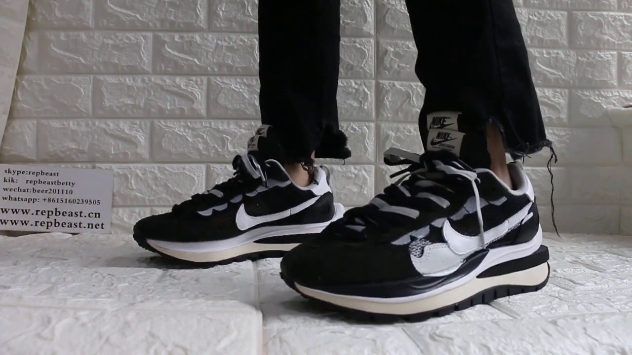 Sacai x Nike Pegasus VaporFly SP Black On Feet