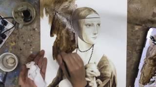 Studying Leonardo, Coffee Painting