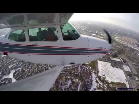 Landing at Indianapolis Metro airport in a Cessna 172RG. Wing spar mounted GoPro. Cockpit audio!