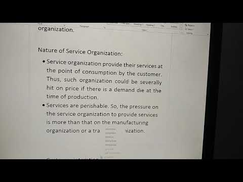 Service organizations and Nature of Service organizations