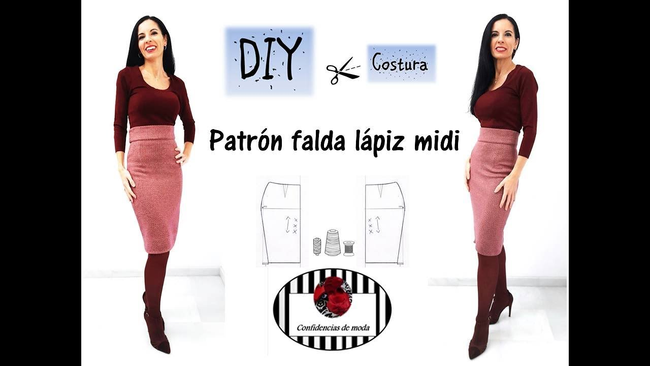 Patrón falda lápiz midi. DIY Costura - YouTube