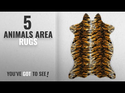 Top 10 Animals Area Rugs [2018 ]: OJIA Faux Cowhide Area Rug Contemporary Tricolor with Tiger