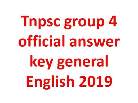 tnpsc group 4 official answer key general english 2019 TNPSC Group 4 Official Answer Key 2019