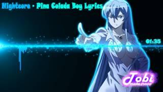 Nightcore - Pina Colada Boy Lyrics