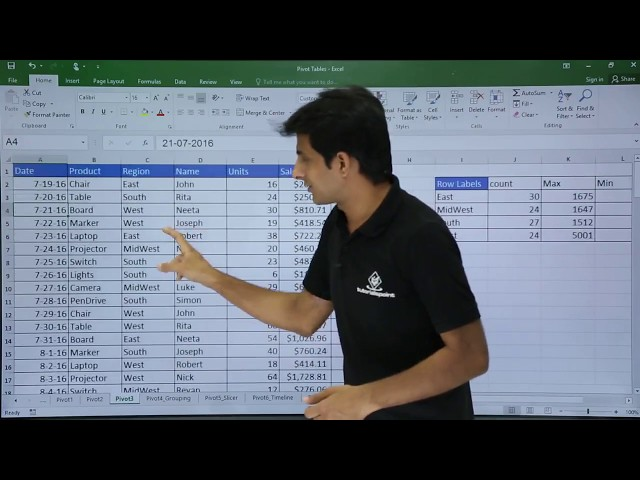 Ms Excel Pivot Table Example 3 Youtube