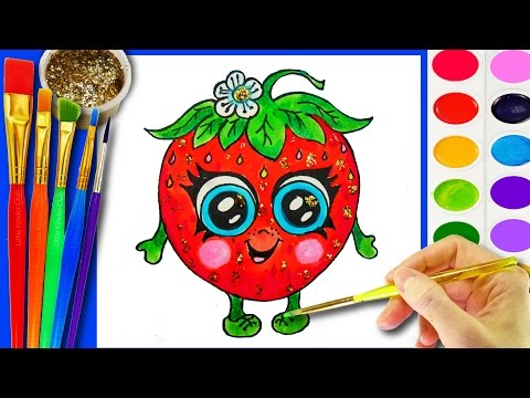Thumbnail: Strawberry Coloring Page for Children to learn to color and Paint with Crayola Watercolor