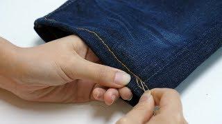 裤脚太长不用剪,奶奶教我隐形无痕缝法,和机器缝的一样精致