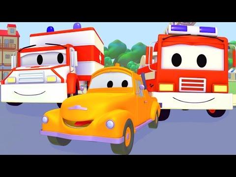 Xe Cứu Thương, Xe Cứu Hỏa Và Tom - Chiếc xe tải kéo   Phim hoạt hình chủ đề xe hơi và xe tải xây dự
