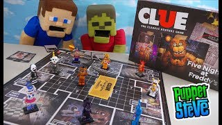 Five Nights at Freddy's CLUE Board Game WAR! Puppet Steve vs Zombie Steve Unboxing