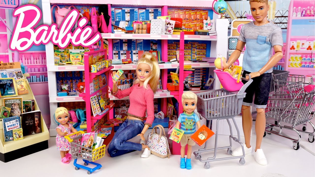 Barbie & Ken Family Supermarket School Supply Shopping - Titi Toys Video