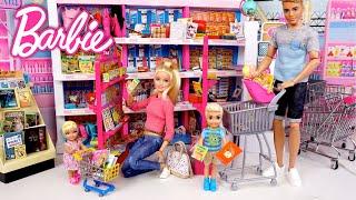 Barbie & Ken Family Supermarket Shopping Video - Titi Toys Dolls