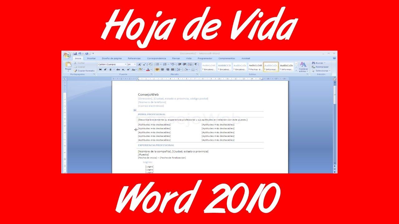 Como hacer una Hoja de Vida en word 2007 2010 - YouTube