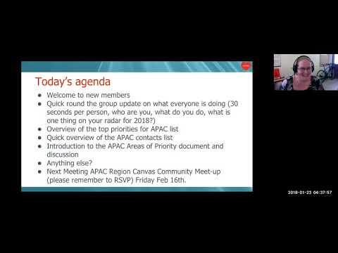 CanvasLIVE - APAC Region Canvas Community Zoom Meeting 23rd Jan 2018