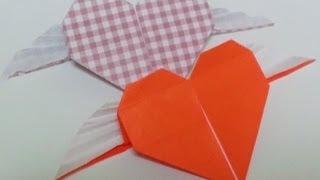 Great Origami-how to make paper angel heart(wing heart)-暮らしを彩る、すてきなおりがみ雑貨-天使のハートの折り方-