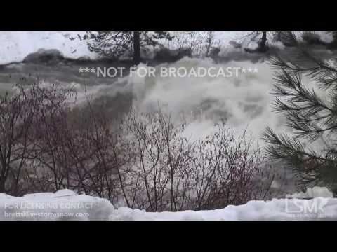 1-8-17 I80 West of Truckee, California  Raging River Flow - Traffic Backup