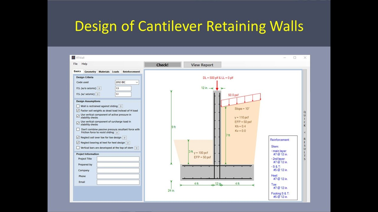 Retaining Wall Design Using RTWall