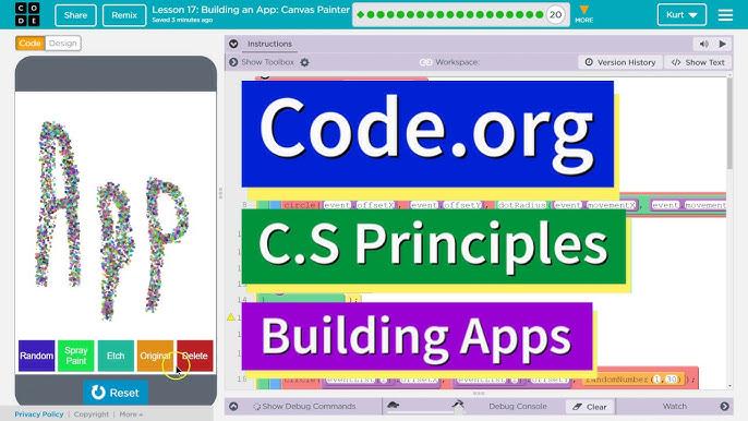 Building an App Canvas Painter Lesson 17 Code.org CS Principles ...