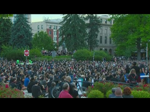 Over 1,000 People Attend A Vigil For George Floyd At The Idaho State Capitol Building