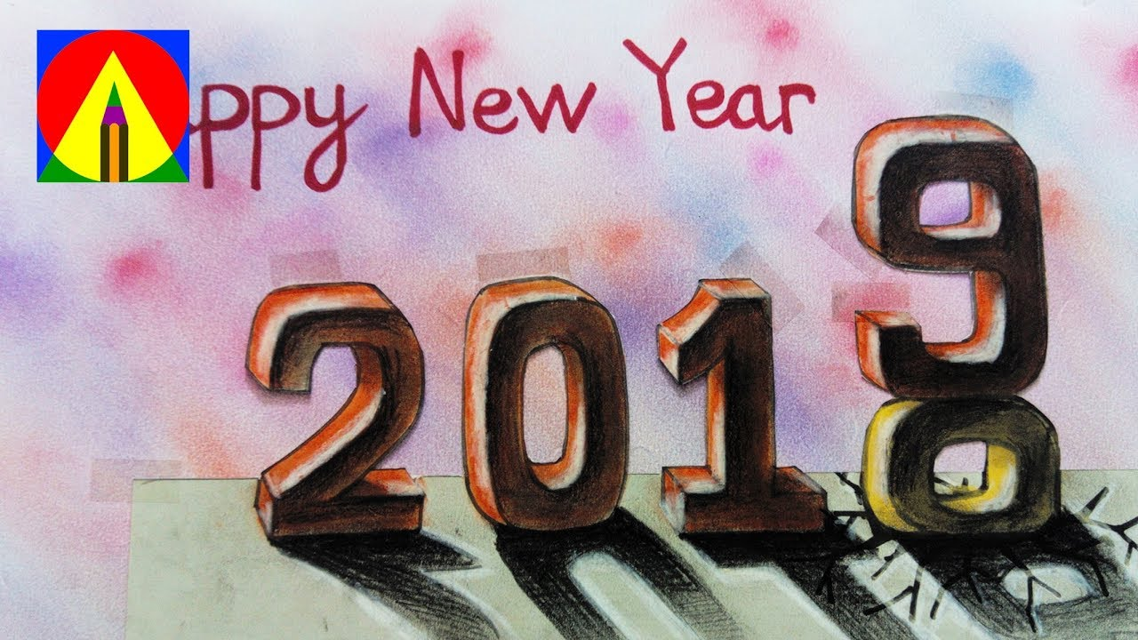 Happy New Year 2019 How To Draw Number 2019 Drawing 3d Text Art
