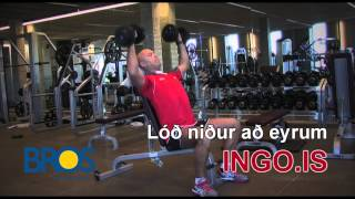 Axlapressa laus lóð. Shoulder press dumbells
