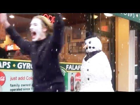 Scary Snowman Hidden Camera Practical Joke US Tour 2015 (25 Minutes)