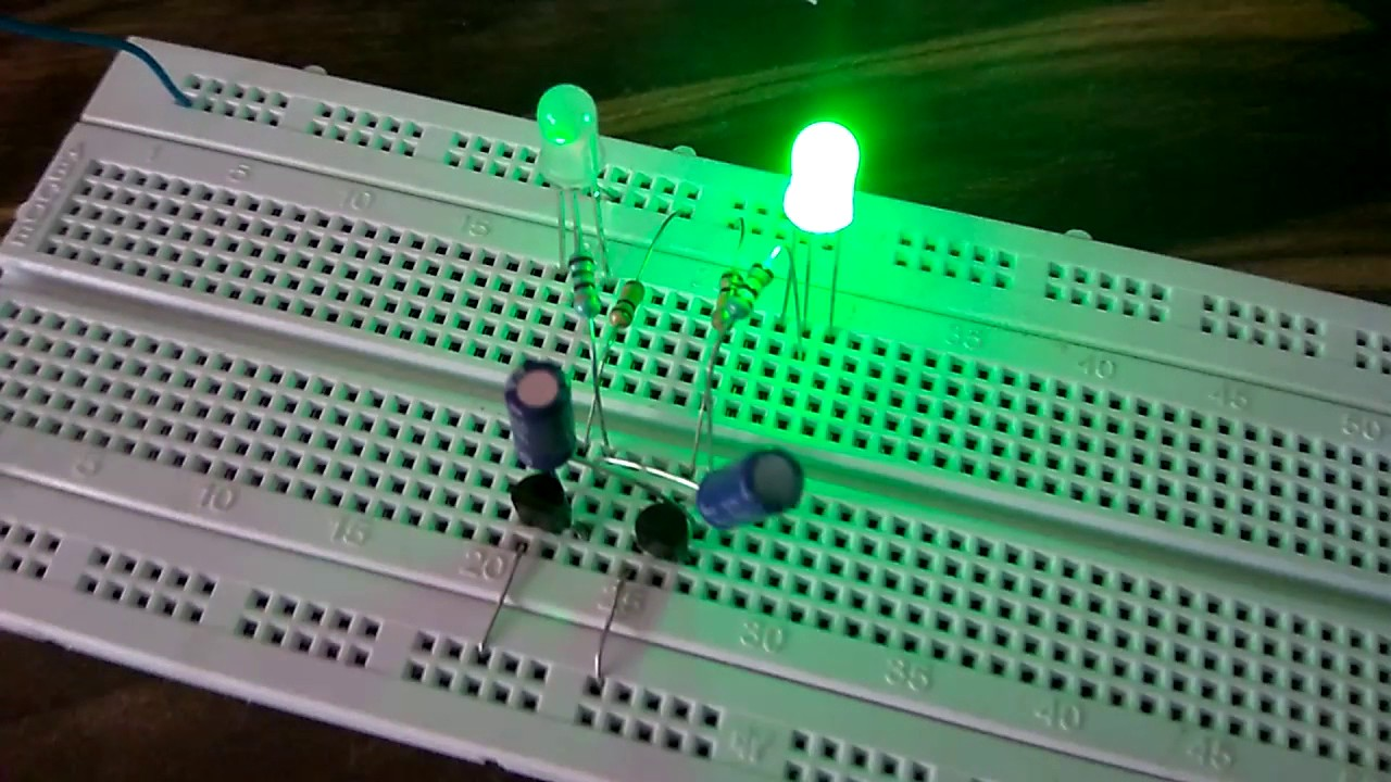Blinking Led With 2n5551 Transistor Capacitors Resistors Youtube Circuits And Projects Electronic Diagram