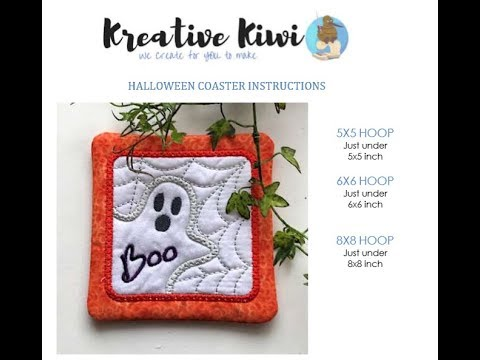 OML Embroidery Live! Kreative Kiwi Ghost In the Hoop embroidered coaster!