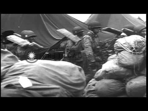 US General Dwight Eisenhower inspects and speaks to US 101st Airborne Division pa...HD Stock Footage