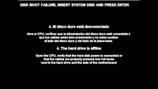 Solucion DISK BOOT FAILURE INSERT SYSTEM DISK AND PRESS ENTER