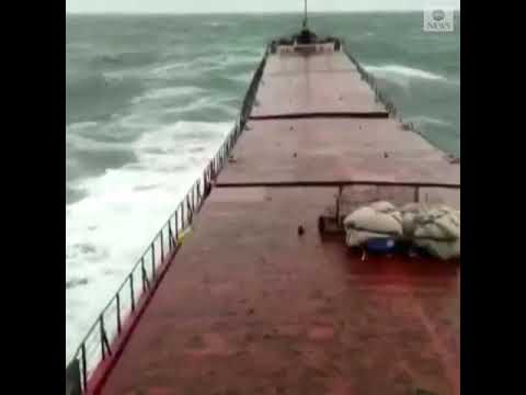 Harrowing video released by Turkish Maritime Authority shows the moment a cargo ship snapped in half
