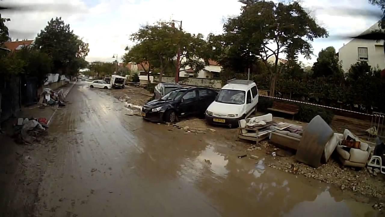 Heavy Rain Floods Caused Mive Damage In Bat Hefer Israel