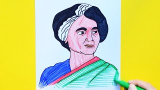How to draw Indira Gandhi - Former Prime Minister of India