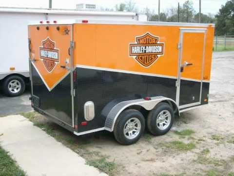 7x12 enclosed motorcycle trailer slant sport package w harley decals