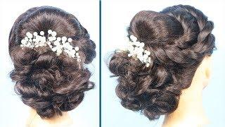 Gorgeous juda hairstyle with saree    hairstyle for party    bun hairstyles     messy bun