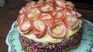 Торт медово-яблочный