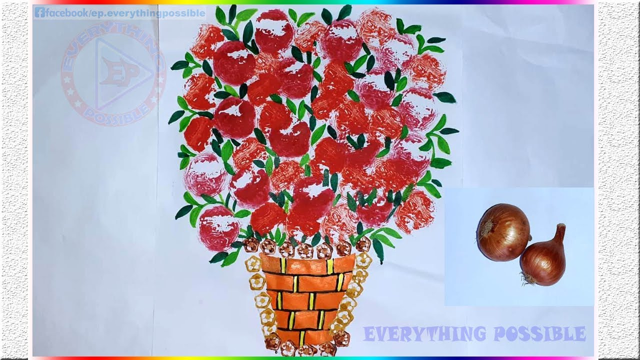 Beautiful Painting Ideas For Kids By Onion Impression Onion Impression Painting Vegetable Painting Youtube