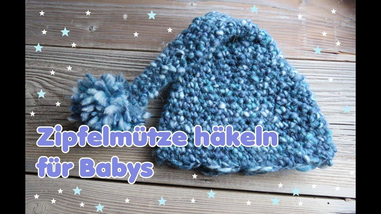 Zipfelmütze / Zwergenmütze für Babys häkeln - ganz einfach! - YouTube