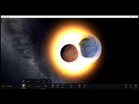 Unuverse sandbox² Столкновение Земли и Марса.