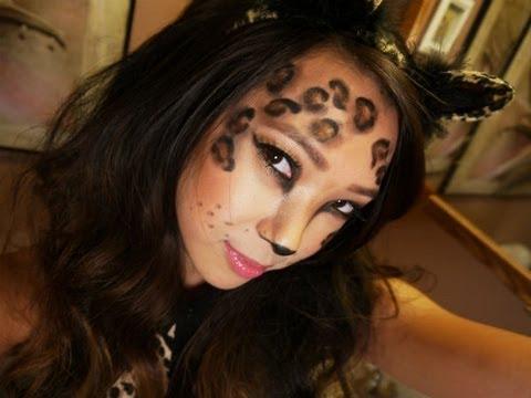 Leopard Halloween Costume Makeup Tutorial - YouTube