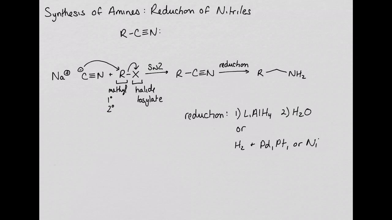 Synthesis Of Amines  Reduction Of Nitriles