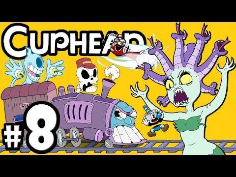 "CUPHEAD + Mugman - 2 Player Co-Op! - Gameplay Walkthrough PART 8: ""Ghost Train to Mermaid Bae"""