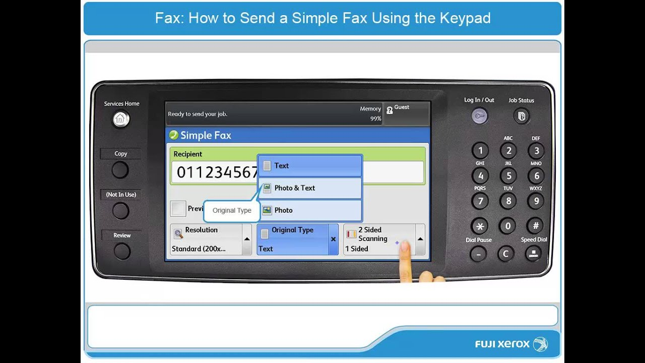 how to send a simple fax using the keypad apeosport v docucentre v products english