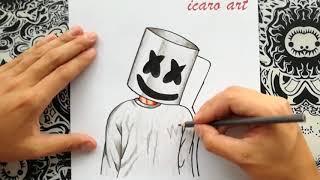 como dibujar a marshmello   how to draw marshmallow   como desenhar o dj marshmello